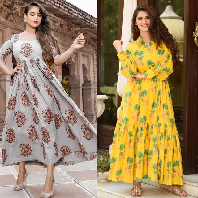 Combo Of 2 Heavy Rayon Festive Wear Kurtis