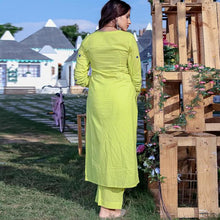 Load image into Gallery viewer, Lime Green Blue Dori Work Dress