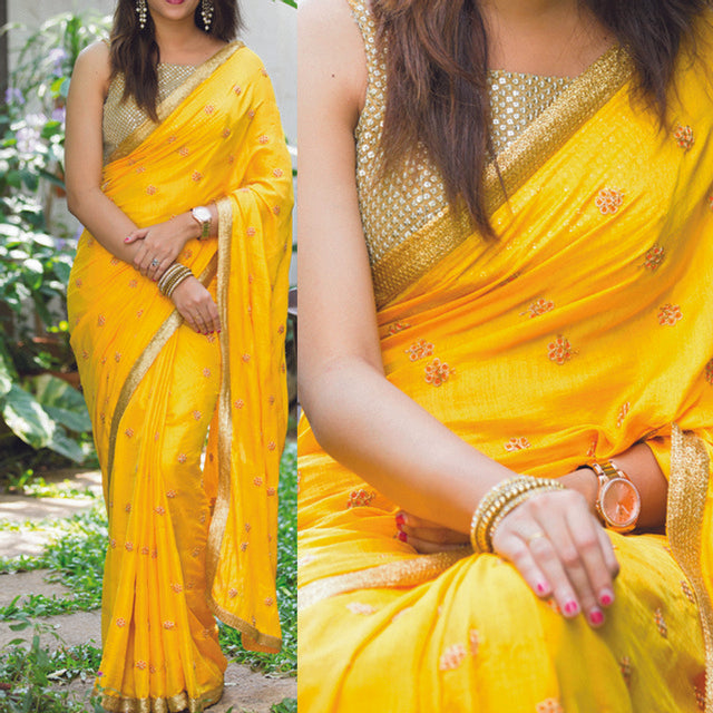 Designer Mustard Yellow Color Saree