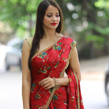 Load image into Gallery viewer, Wedding Wear Floral Print Vichitra Silk Saree