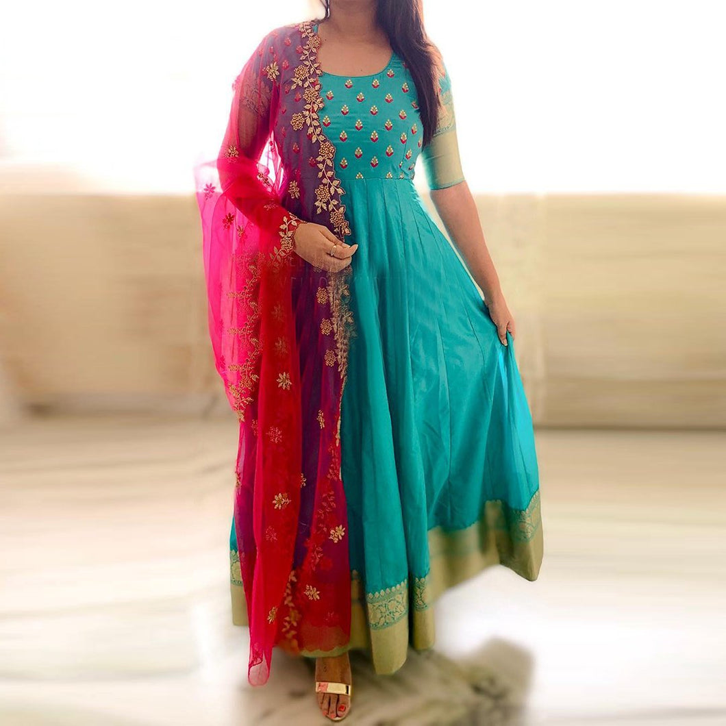 Party Wear Rama Green Color Embroidered Suit