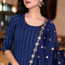 Load image into Gallery viewer, Latest suit design - Blue Color Party Wear Thread Work Suit With Dupatta