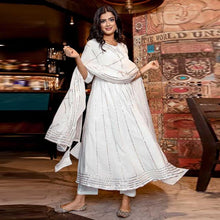 Load image into Gallery viewer, White Color Gota Patti Work Suit With Dupatta
