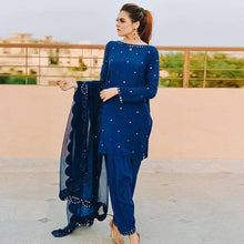 Load image into Gallery viewer, Blue Colored Designer Dress With Dupatta