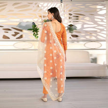 Load image into Gallery viewer, Orange Thread Work Kurta Set With White Dupatta