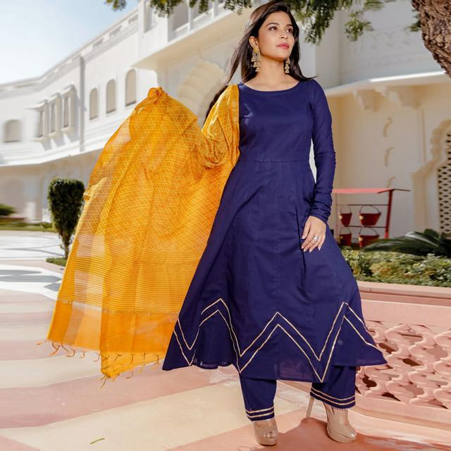 Party Wear Blue Color Designer Suit With Dupatta