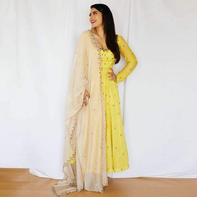 Yellow Color Celebrity Style Suit With Dupatta