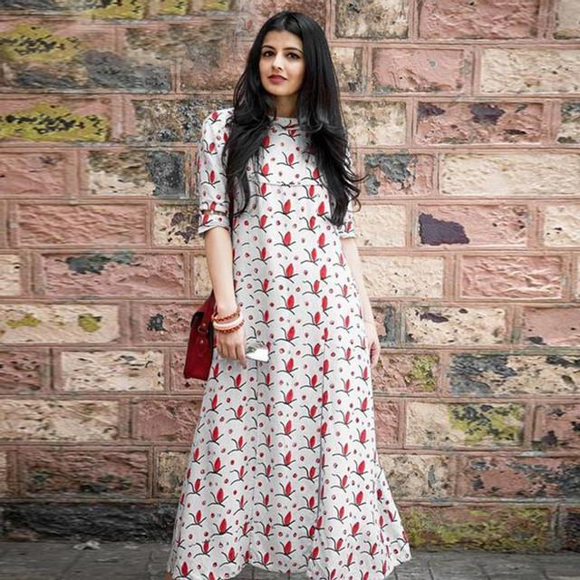 Off White Color Floral Print Kurti