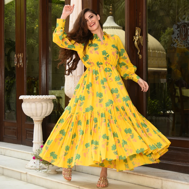 Heavy Rayon Yellow Color Floral Print Kurti