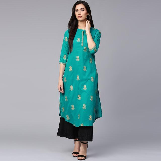 Turquoise Color Heavy Rayon Kurti