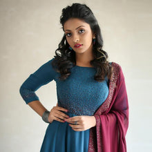 Load image into Gallery viewer, Blue Charming Anarkali Suit