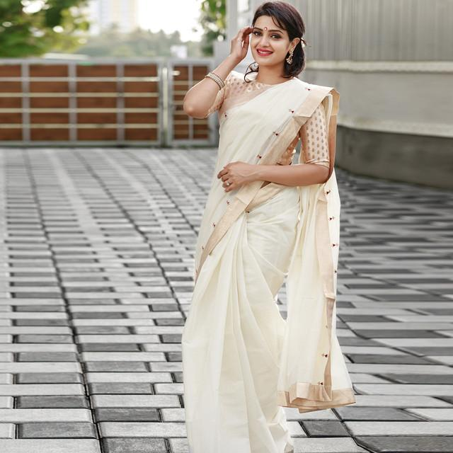 Party Wear White Designer Saree