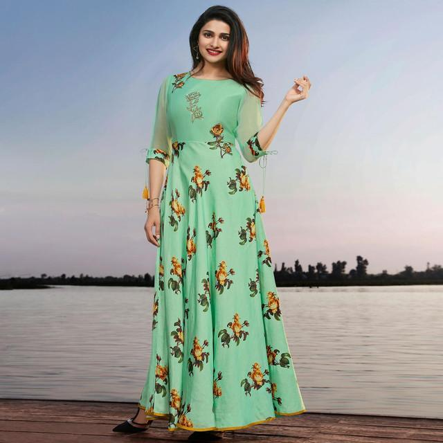 Fancy Mint Green Floral Print Kurti