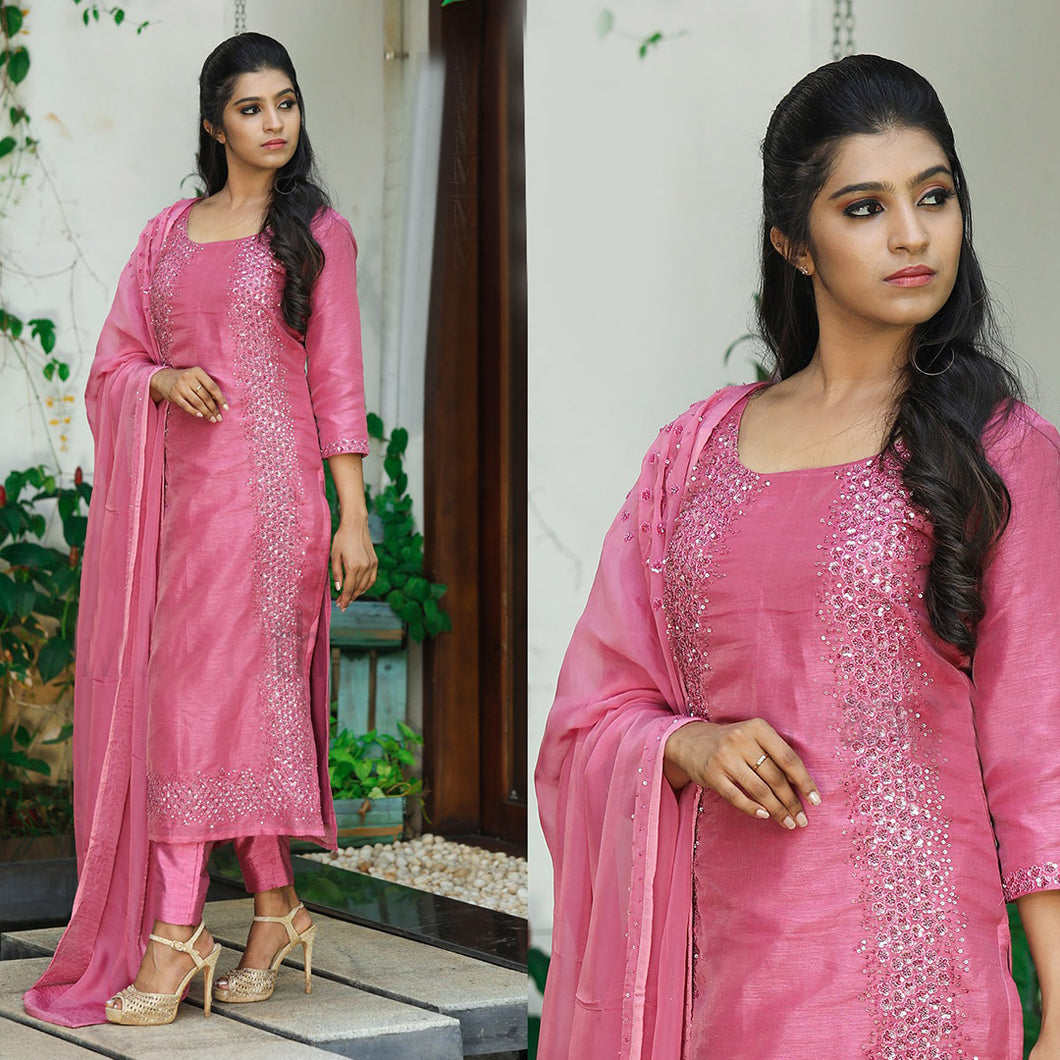 Pink Color Embroidered Dress