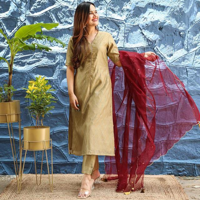 Beige Color Party Wear Dress With Dupatta