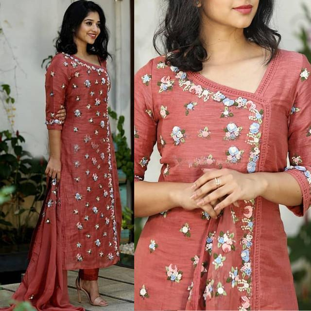 Designer Carrot Color Embroidered Suit