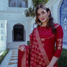 Load image into Gallery viewer, Red Color Embroidered Suit With Dupatta