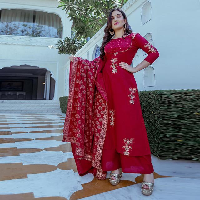 Red Color Embroidered Suit With Dupatta