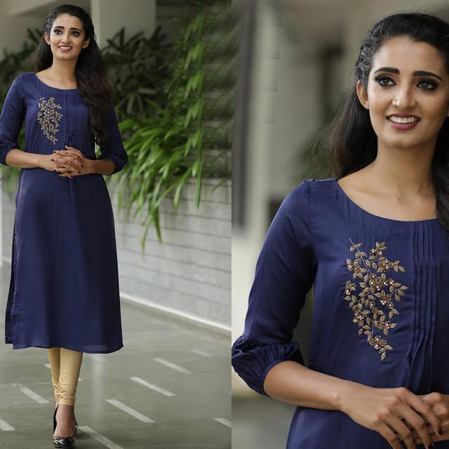 Dark Blue Color Cotton Embroidered Suit