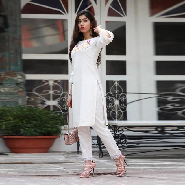 Embroidered Designer Fancy White Suit