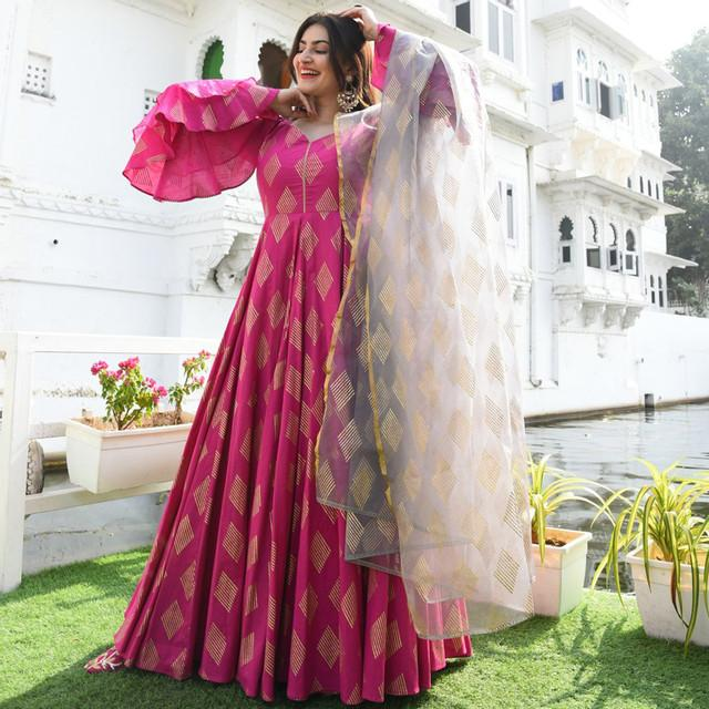Beautiful Rani Pink Color Printed Suit