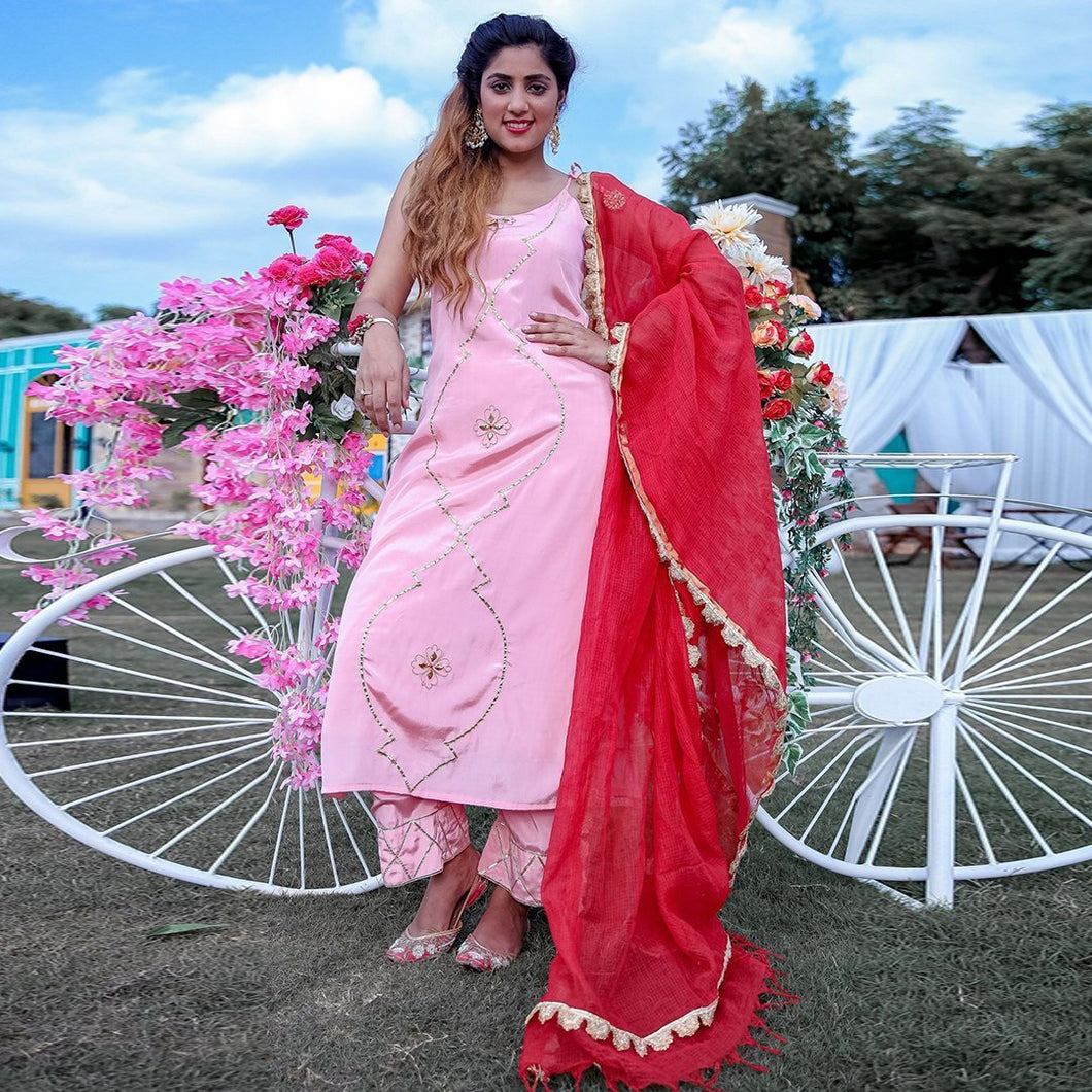 Pink Color Embroidered Cotton Suit