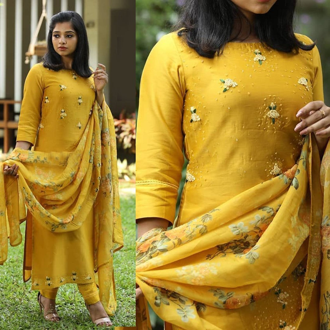 Embroidered Yellow Color Suit With Dupatta
