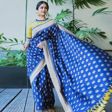 Load image into Gallery viewer, Royal Blue Color Celebrity Style Printed Saree