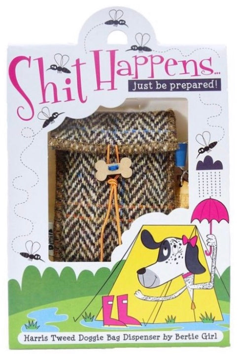 Shit Happens: Tweed Poo Bag Holder & Poo Bags