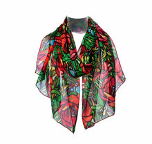 Load image into Gallery viewer, Tiffany Poppies Silk Chiffon Scarf