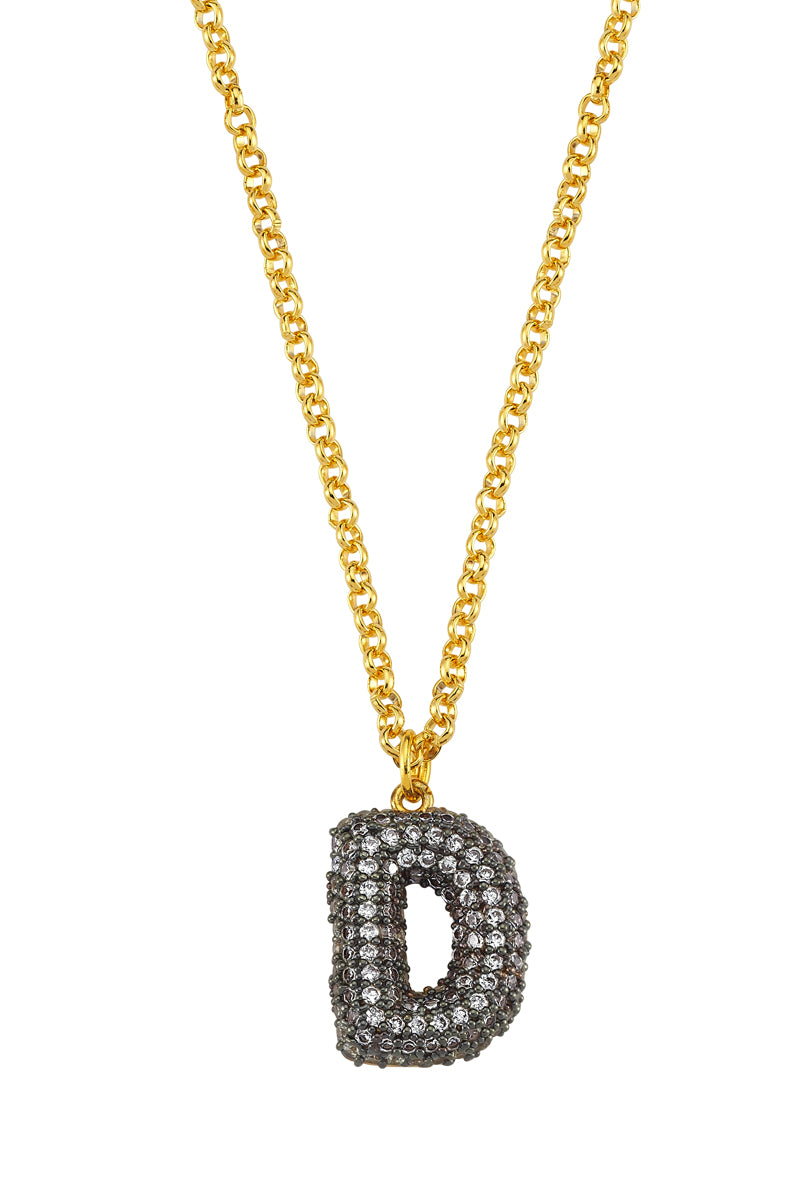 Ma Cherie Letter Rhodium Chain Necklace
