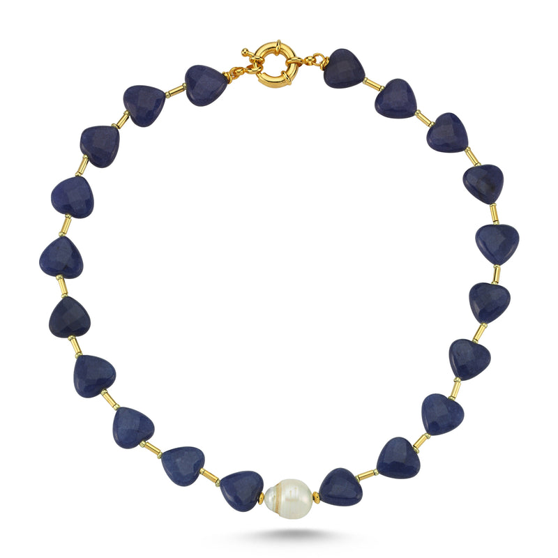 Love Me Sweet Pearl Lapis Necklace