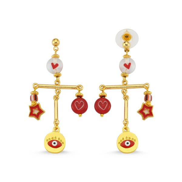 Summer Dance Red Eye Earrings