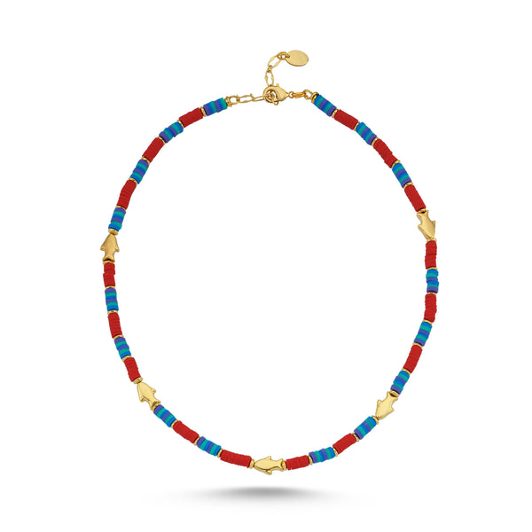 Fish Blue Red Necklace