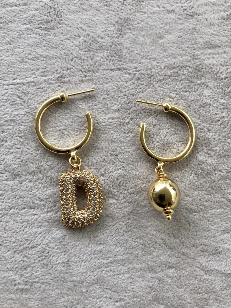 Ma Cherie Letter Hoop Earrings
