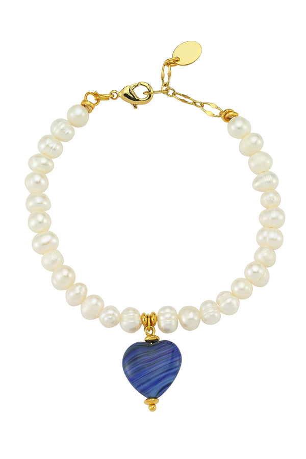 Love Me Sweet Blue Heart Pearl Bracelet