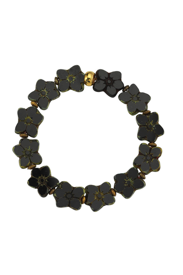 Flower Glass Bead Black Bracelet