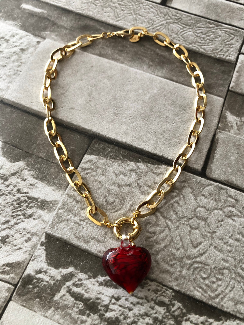 Red Glass Heart Chain Necklace