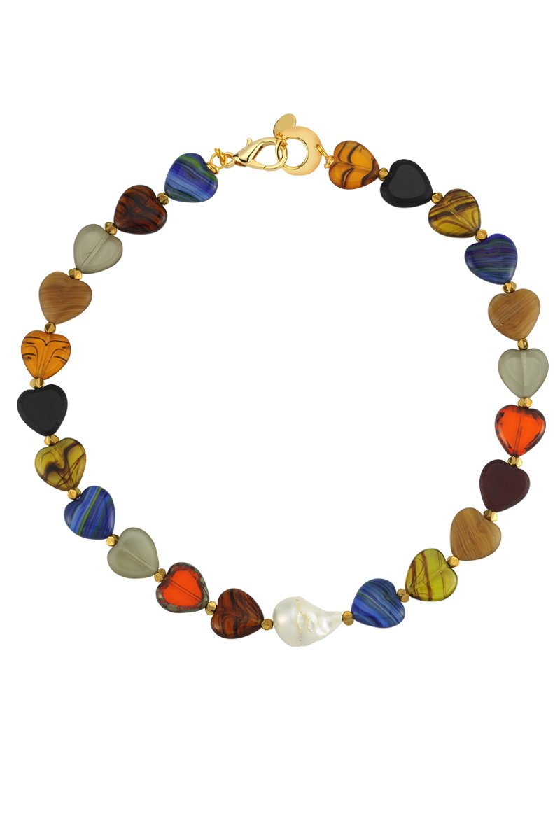 Love Me Sweet Multicolor Heart Glass Bead and Pearl Necklace