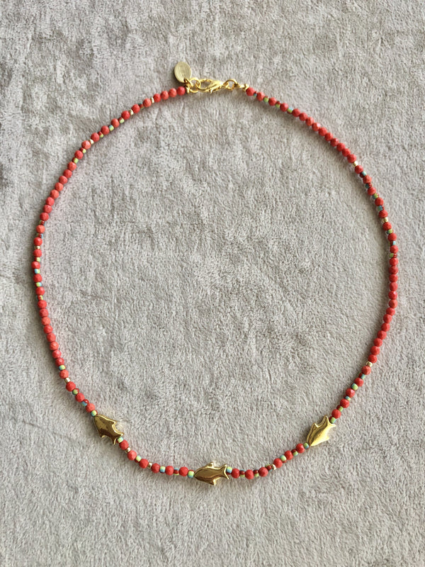 Bodrum Fish Detailed Red Necklace