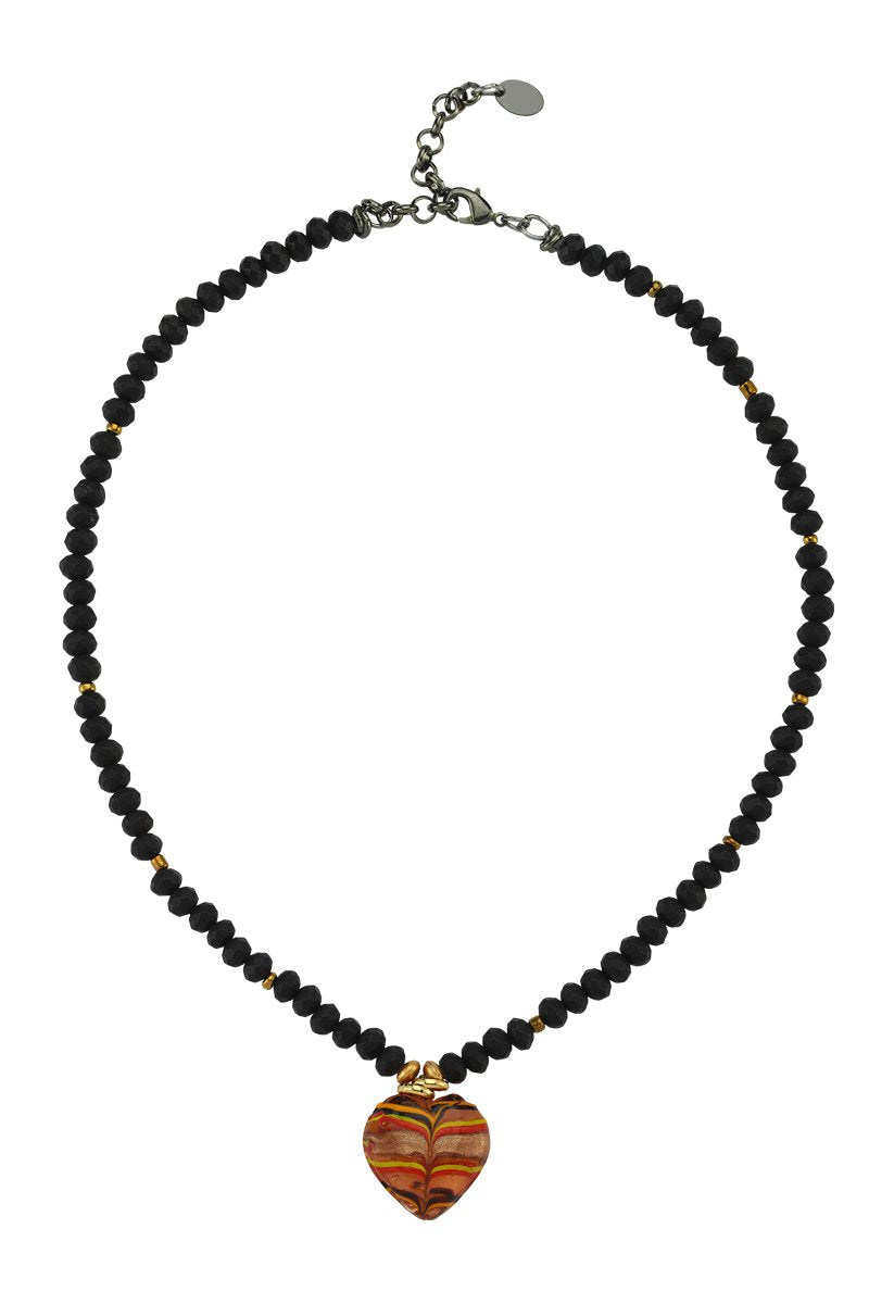 Love Me Sweet Glass Heart Bead Black Necklace