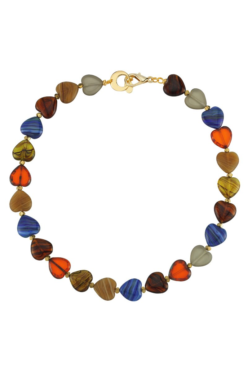 Love Me Sweet Multicolor Heart Glass Bead Necklace