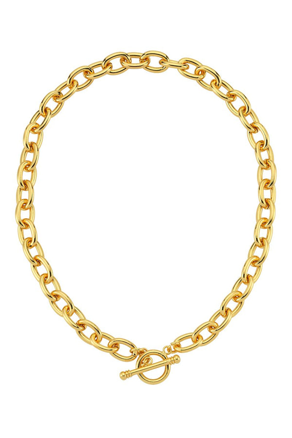 Oval Link T Lock Chain Necklace