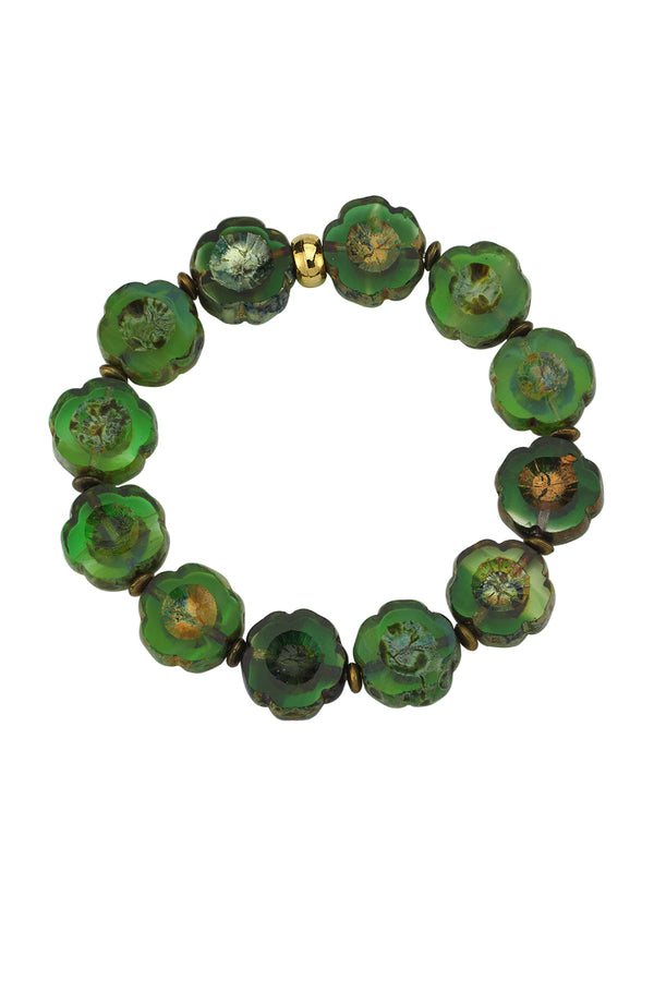 Flower Glass Bead Green Bracelet