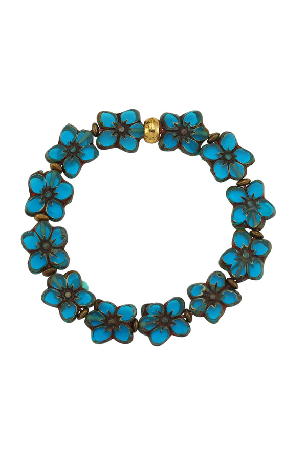 Flower Glass Bead Blue Bracelet