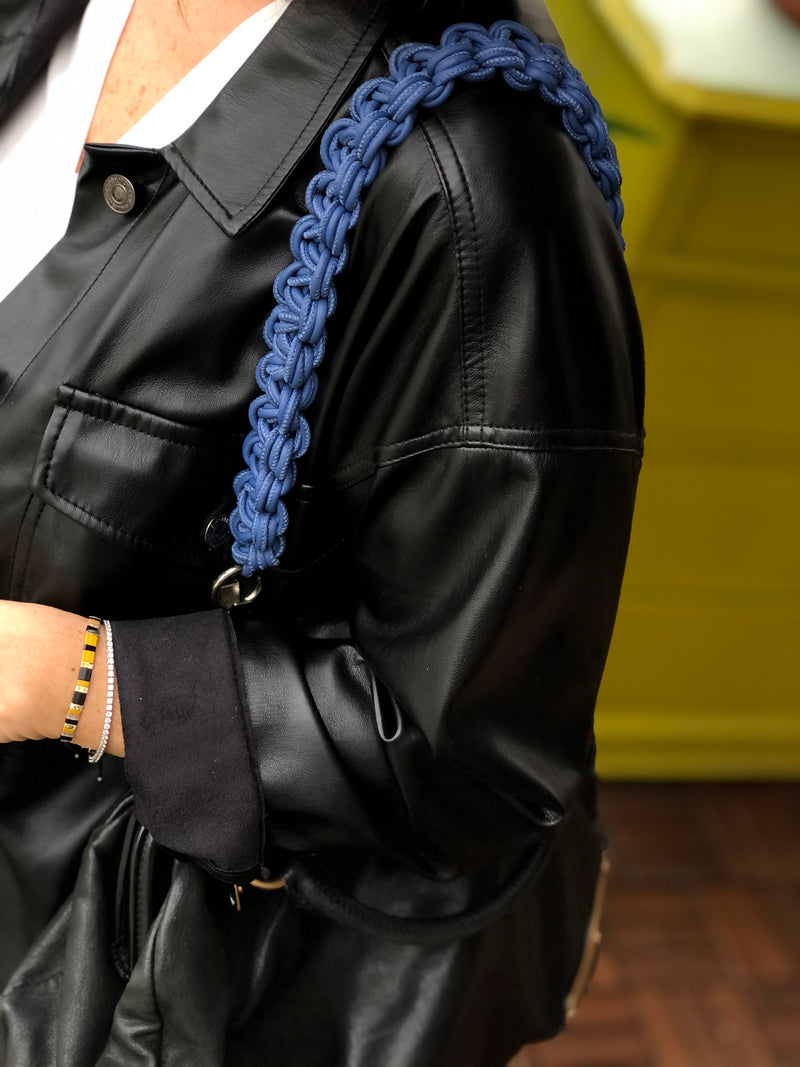 Blue Faux Leather Bag Strap