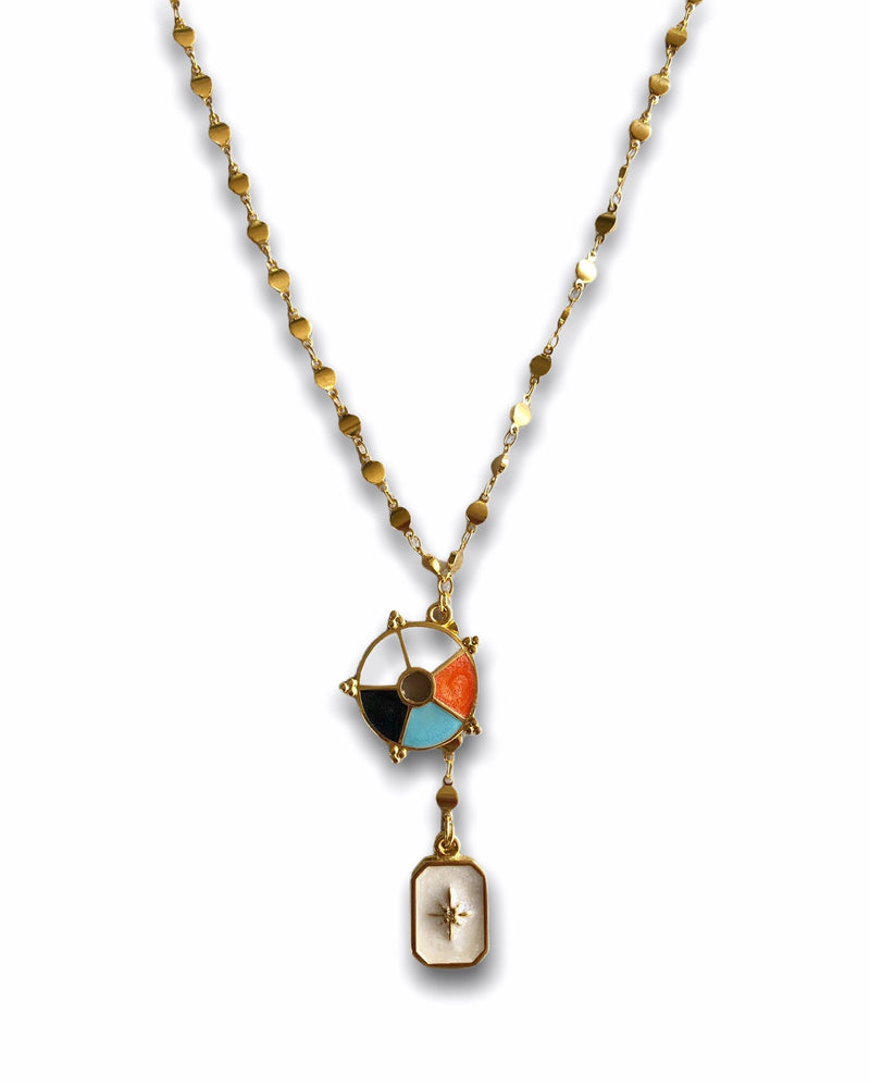 Enameled Charm Chain Necklace