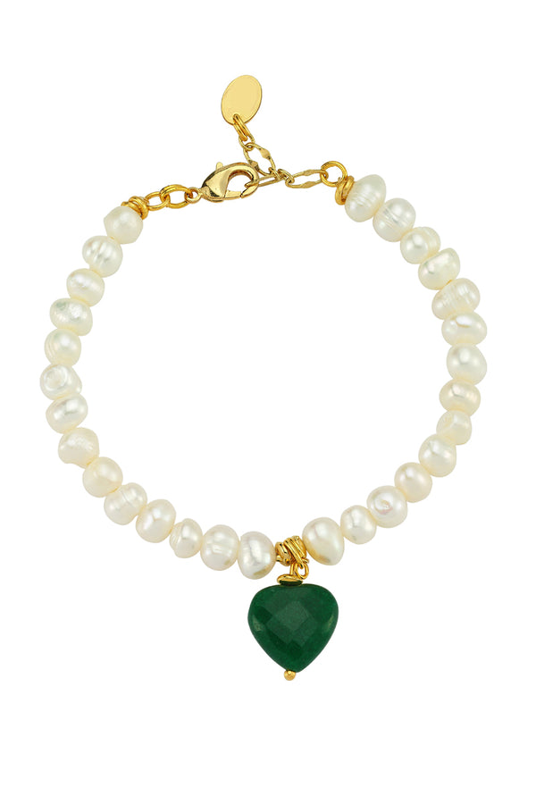 Love Me Sweet Green Heart Pearl Bracelet