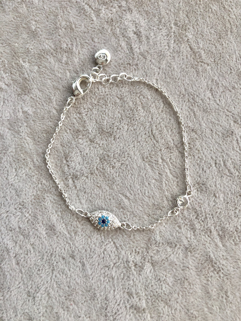 Eye Crystal Silver Plated Chain Anklet