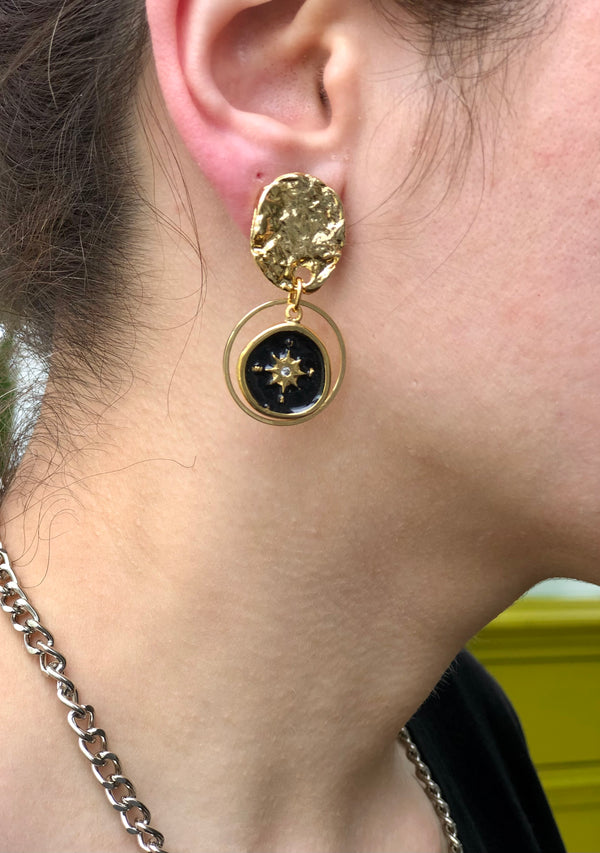 Black Coin Earrings